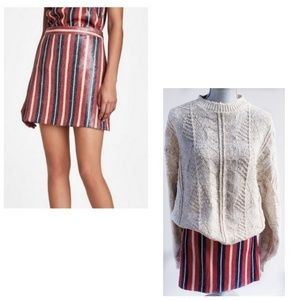 NWT Zara Sequin Striped Mini Skirt Medium